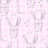 Modello senza cuciture con la stampa del coniglio di scarabocchio di schizzo Fotografia Stock Libera da Diritti