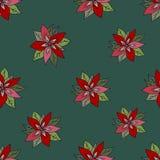 Modello senza cuciture con la stella di Natale rossa su fondo verde Fiori rossi su una priorità bassa verde royalty illustrazione gratis
