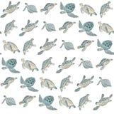 Modello senza cuciture con la tartaruga di mare dell'acquerello su fondo bianco Stampa esotica di estate royalty illustrazione gratis