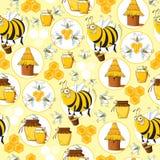 Modello senza cuciture con le api & il miele Immagine Stock Libera da Diritti