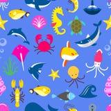Modello senza cuciture con le bestie marine, modello del pesce royalty illustrazione gratis