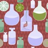 Modello senza cuciture con le boccette, bolle, piante, piantine contro lo sfondo delle gocce Fotografia Stock Libera da Diritti