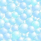 Modello senza cuciture con le bolle di sapone, fondo realistico delle bolle, carta da parati blu della chiazza, illustrazione di  illustrazione di stock