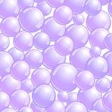 Modello senza cuciture con le bolle di sapone, fondo realistico delle bolle, carta da parati porpora della chiazza, illustrazione illustrazione di stock