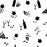 Modello senza cuciture con le bottiglie dell'uva, delle foglie, del bicchiere di vino e di vino Illustrazione di vettore illustrazione vettoriale