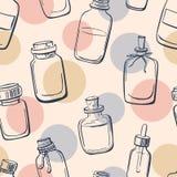 Modello senza cuciture con le bottiglie di olio essenziale Fotografie Stock