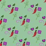 Modello senza cuciture con le carote ed arancia, cuore e fiore svegli su fondo verde Può essere usato per l'imballaggio, carta da illustrazione vettoriale
