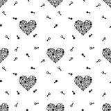 Modello senza cuciture con le chiavi e cuore che consiste degli ingranaggi Il nero su un fondo bianco Vettore royalty illustrazione gratis