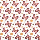 Modello senza cuciture con le farfalle ed i fiori astratti illustrazione di stock