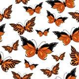 Modello senza cuciture con le farfalle variopinte Fotografie Stock