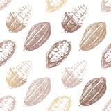 Modello senza cuciture con le fave di cacao Fotografie Stock