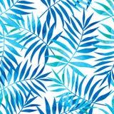 Modello senza cuciture con le foglie di palma tropicali del turchese e del blu royalty illustrazione gratis