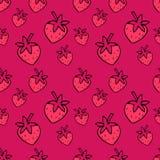 Modello senza cuciture con le fragole rosa Modello sveglio della fragola Immagine Stock Libera da Diritti