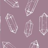 Modello senza cuciture con le gemme di cristallo bianche Immagini Stock