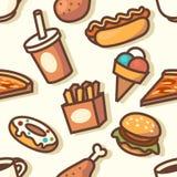Modello senza cuciture con le icone degli alimenti a rapida preparazione Fotografia Stock