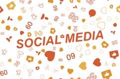 Modello senza cuciture con le icone delle reti sociali ed i simboli delle notifiche Illustrazione piana ENV 10 Immagine Stock