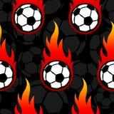 Modello senza cuciture con le icone e le fiamme del pallone da calcio di calcio Fotografie Stock Libere da Diritti