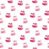 Modello senza cuciture con le labbra di bacio Fondo sveglio in acquerello Struttura di giorno di biglietti di S. Valentino Proget royalty illustrazione gratis