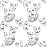 Modello senza cuciture con le maschere del teatro delle emozioni di tristezza e di risata illustrazione vettoriale