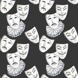 Modello senza cuciture con le maschere del teatro delle emozioni di tristezza e di risata illustrazione di stock