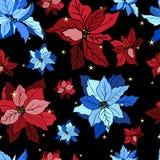 Modello senza cuciture con le mattonelle dell'ornamento dei fiori di vettore royalty illustrazione gratis