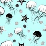 Modello senza cuciture con le meduse Illustrazione Vettoriale