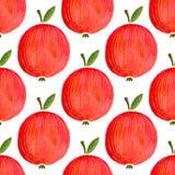 Modello senza cuciture con le mele dell'acquerello mela dell'acquerello dell'illustrazione per la vostra progettazione Immagine Stock