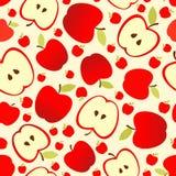 Modello senza cuciture con le mele e le fette rosse della mela Fotografia Stock