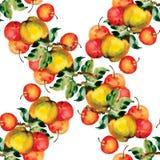Modello senza cuciture con le mele e le foglie rosse Illustrazione di vettore Fotografia Stock Libera da Diritti