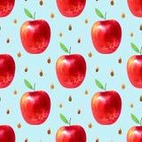 Modello senza cuciture con le mele ed i semi Immagine dell'alimento Immagini Stock