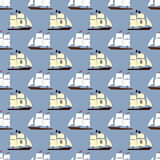 Modello senza cuciture con le navi di navigazione Immagine Stock