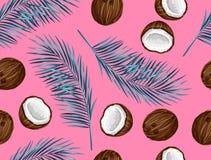 Modello senza cuciture con le noci di cocco Fondo astratto tropicale nel retro stile Di facile impiego per il contesto, tessuto,  Immagini Stock