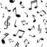 Modello senza cuciture con le note nere di musica su fondo bianco Illustrazione di vettore illustrazione di stock