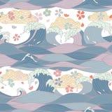 Modello senza cuciture con le onde stilizzate disegnate a mano del mare, ombrelli giapponesi, fiori di sakura Illustrazione di ve illustrazione di stock