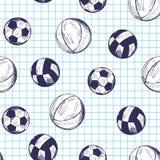 Modello senza cuciture con le palle differenti disegnate a mano di sport Fotografia Stock