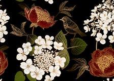 Modello senza cuciture con le peonie, i fiori dell'ortensia ed i piccoli uccelli Fondo di vettore illustrazione di stock