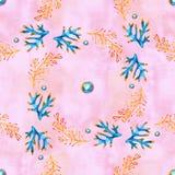 Modello senza cuciture con le piante, le foglie e l'alga marine Flora marina disegnata a mano nello stile dell'acquerello illustrazione di stock