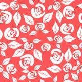 Modello senza cuciture con le rose d'annata bianche sui precedenti rossi illustrazione vettoriale
