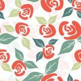 Modello senza cuciture con le rose d'annata rosse sui precedenti bianchi royalty illustrazione gratis