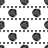 Modello senza cuciture con le rose ed i cuori neri sul backgr bianco Immagini Stock Libere da Diritti