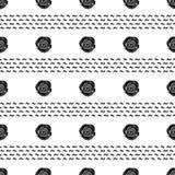 Modello senza cuciture con le rose nere sui precedenti bianchi Fotografia Stock