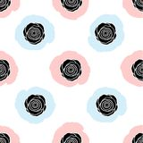 Modello senza cuciture con le rose nere sui punti blu e rosa Fotografia Stock Libera da Diritti