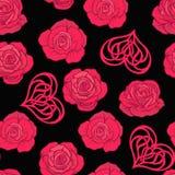 Modello senza cuciture con le rose rosse e cuore di amore sul backgrou nero Immagine Stock