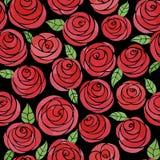 Modello senza cuciture con le rose sveglie dell'acquerello Fotografie Stock Libere da Diritti