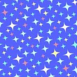 Modello senza cuciture con le scintille luminose sul blu illustrazione vettoriale