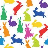 Modello senza cuciture con le siluette dei coniglietti Fotografia Stock Libera da Diritti