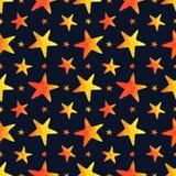 Modello senza cuciture con le stelle dell'acquerello sul fondo dei blu navy royalty illustrazione gratis