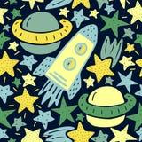 Modello senza cuciture con le stelle, razzo, pianeta nello spazio royalty illustrazione gratis