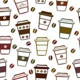 Modello senza cuciture con le tazze di caffè di scarabocchio Fotografia Stock Libera da Diritti