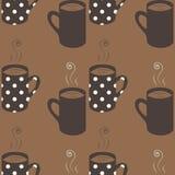Modello senza cuciture con le tazze di caffè punteggiate Immagine Stock Libera da Diritti